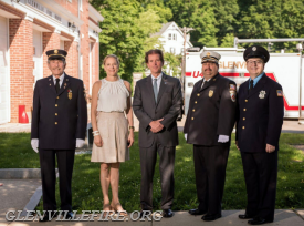 Left to right: Glenville Volunteer Fire Company President Sandy Kornberg, Honorees Icy and Senator Scott Frantz, Glenville's Fire Chief Michael Hoha with Fire Police Patrol Ron Brien.