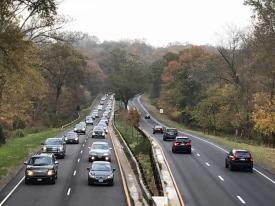 Traffic, seen from the Newfield Avenue bridge in Stamford, shows jammed traffic on the Merritt Parkway on Thursday, Nov. 2, 2017. A crash involving a tractor-trailer truck and a vehicle closed the northbound lanes in Greenwich between Exit 31 and 33 for several hours. A multi-vehicle crash in Norwalk also closed all southbound lanes.  Photo: Michael Cummo / Hearst Connecticut Media