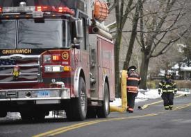 Photo: Tyler Sizemore, Hearst Connecticut Media - Crews respond to a house fire on Sunshine Avenue in the Riverside section of Greenwich, Conn. Thursday, March 8, 2018.