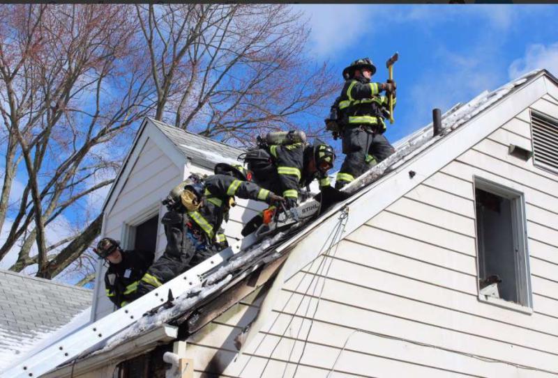 Photo: / Greenwich Fire Union -  Firefighters work a blaze in Riverside Thursday morning.