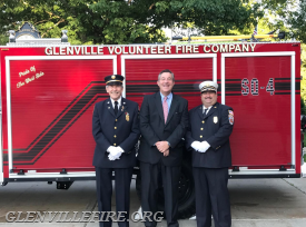 The Glenville Volunteer Fire Company will honor Greenwich civic leader and philanthropist Ed Dadakis at its annual fundraising event on Thursday, Oct. 4 at Tamarack Country Club. From left to right is GVFC President Sanford Cohen, honoree Edward Dadakis and GVFC Chief Michael Hoha. (contributed photo)