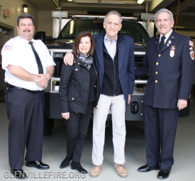Left to right: Glenville Volunteer Fire Company Chief Mike Hoha, Bea Crumbine, Peter Crumbine, GVFC President Sandy Kornberg
