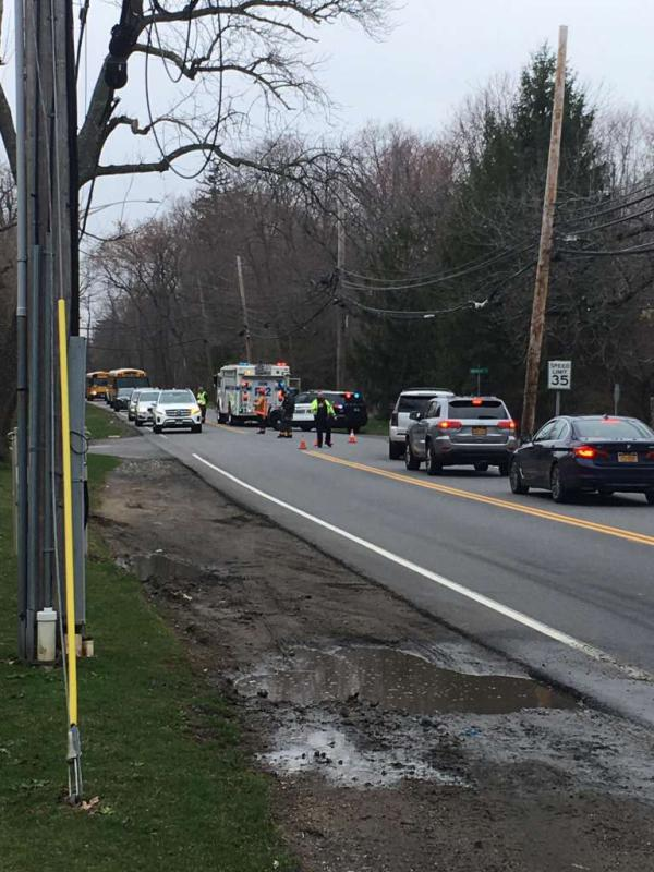 Police, fire and emergency services respond to reports of a motor vehicle accident on King Street near St. Paul Church Tuesday. Traffic is heavy, and motorists are advised to avoid traveling the street. Photo: Rob Marchant / Hearst Media Connecticut