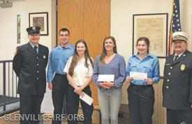 Left to right: Vincent Ferraro, Fire Explorer Post Advisor; James Heavey; Nicole Maloney; Stephanie Rota; Carley Sobel; and Chief Michael Hoha (contributed photo)