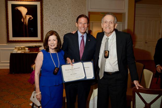 Bea Crumbine, U.S. Sen. Richard Blumenthal, Peter Crumbine. (John Ferris Robben photo)