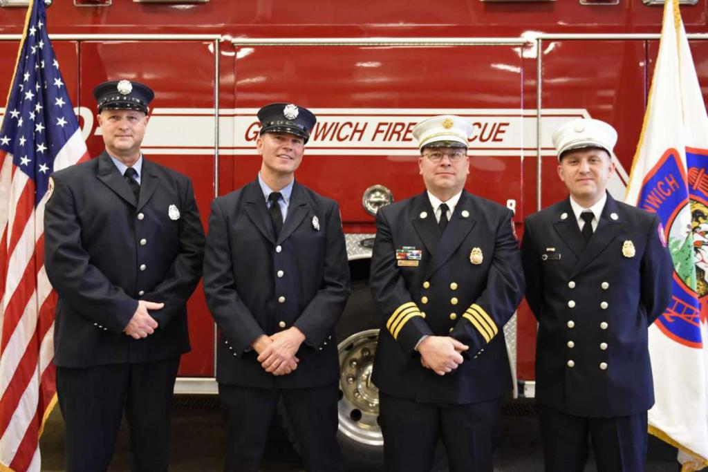 Tyler Sizemore / Hearst Connecticut Media From left, Greenwich Fire Lt. Greg Sinapi, Fire Lt. Mike Wilson, Asst. Fire Chief Brian Koczak, and Deputy Fire Chief Eric Maziarz pose after being promoted at the Public Safety Complex in Greenwich, Conn. Monday, Oct. 26, 2020.